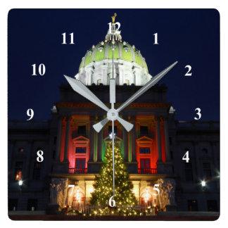 Ljus för Pennsylvania statligt huvudstadjulgran Fyrkantig Klocka