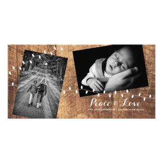 Ljus för trä för foto för fredkärlek jul bestrött fotokort