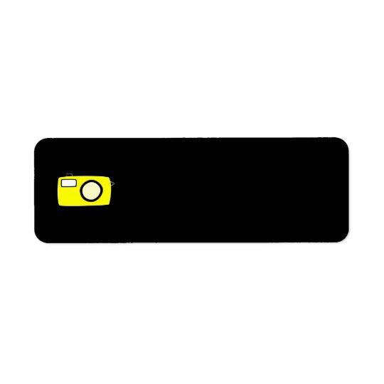Ljus gul kamera. På Black. Returadress Etikett