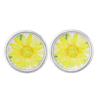 Ljus gul sommarsolrosvattenfärg cufflinks