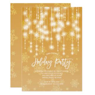 Ljus julfestinbjudan för elegantt guld 12,7 x 17,8 cm inbjudningskort