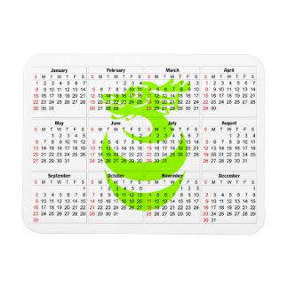 Ljus kalender - högvärdig magnet för grön drake