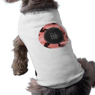 Ljus korall Camo; Retro svart tavla Hund T-shirt