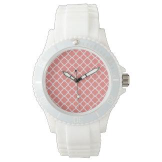 Ljus korall rosa marockanska Quatrefoil Armbandsur