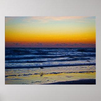 Ljus kust- Atlantic Ocean för gryningtidigt konst Poster