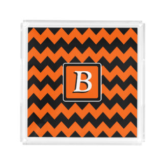 Ljus Monogram för orange- och svartsparre | Bricka
