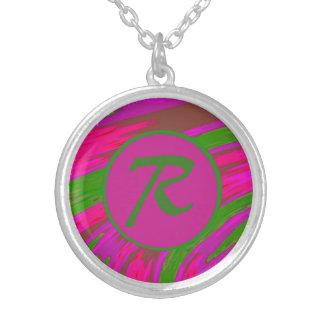 Ljus Monogram för Swish för rosagröntfärg Silverpläterat Halsband
