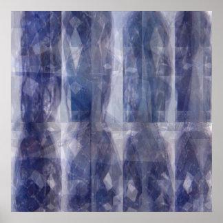 Ljus n skuggar - blåttShappire mönster Poster