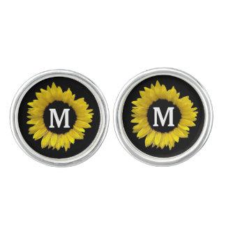 Ljus och gladlynt gul solros som gifta sig A08D Cufflinks