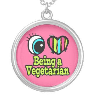 Ljus ögahjärta älskar jag att vara en vegetarian silverpläterat halsband