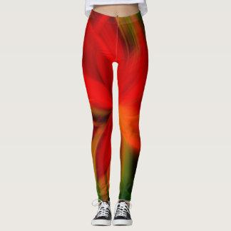 Ljus orange- och gröntabstrakt leggings
