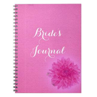 Ljus rosa bröllopjournal för nätt dahlia anteckningsbok med spiral