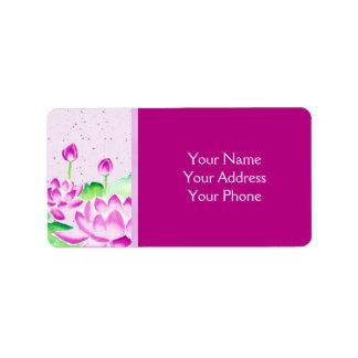 Ljus rosa lotusblommavattenfärg som målar Washi pa Adressetikett