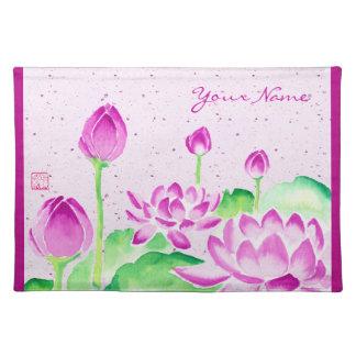 Ljus rosa lotusblommavattenfärg som målar Washi pa Bordstablett