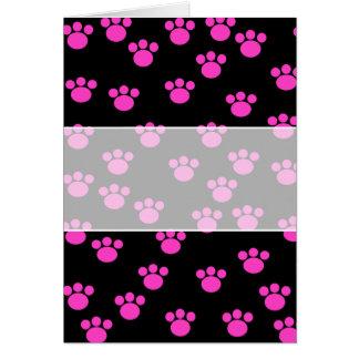 Ljus rosa och svart tasstryckmodell hälsningskort