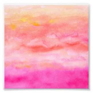 Ljus rosa orange målad solnedgångvattenfärg fototryck