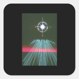 Ljus rusastjärna. (tända; star_Spaceplatser Fyrkantigt Klistermärke