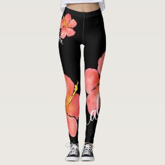 Ljus tropisk blommigtAloha hibiskusdamasker Leggings