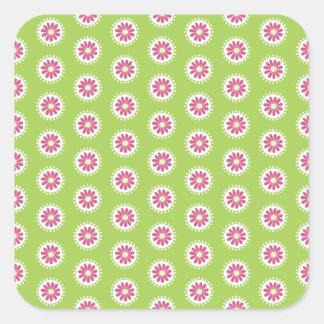 Ljusa dagar rosor och gröntblommigt fyrkantigt klistermärke