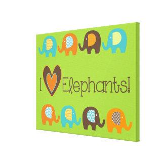 Ljusa färger älskar jag elefanter slågen in kanfas canvastryck