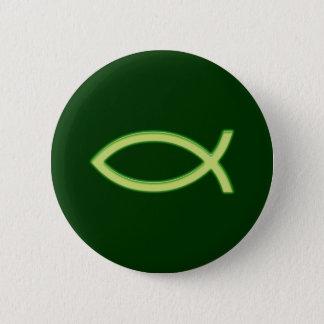 Ljusa Ichthus - kristet fisksymbol - - grönt Standard Knapp Rund 5.7 Cm
