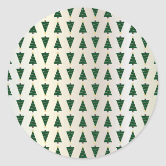 Ljusa julgranar för modern design i mjukt guld runt klistermärke