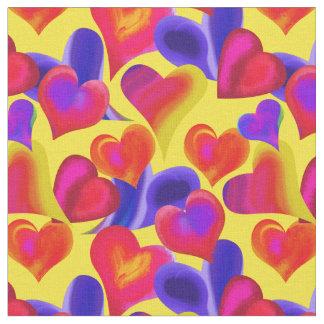 Ljusa målade hjärtor på valentin för gult | dag tyg