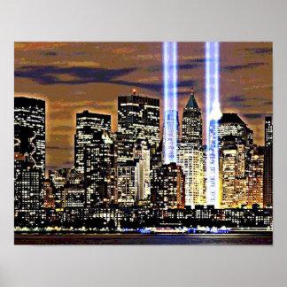 Ljusa New York tvillingbröder strålar Poster