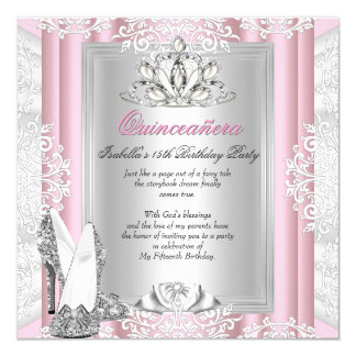 Ljusa Quinceanera 15th födelsedagsfest - rosan Fyrkantigt 13,3 Cm Inbjudningskort