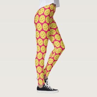 Ljusa rosa sportar för rolig Pickleball gultboll Leggings