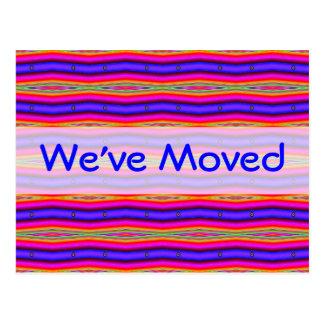 Ljusa rosablått för vi har flyttat vykort