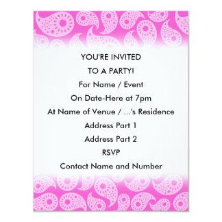 Ljusa rosor och pastellrosor Paisley. 10,8 X 14 Cm Inbjudningskort