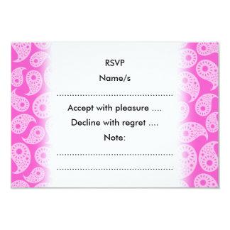 Ljusa rosor och pastellrosor Paisley. 8,9 X 12,7 Cm Inbjudningskort