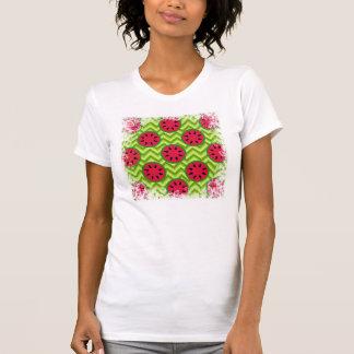 Ljusa sommarpicknickvattenmelnar på grön sparre t-shirt
