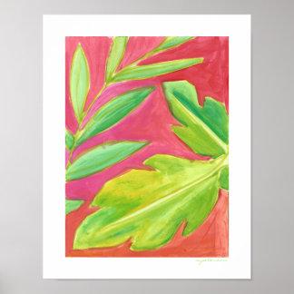 Ljusa tropiska löv och målat konsttryck poster