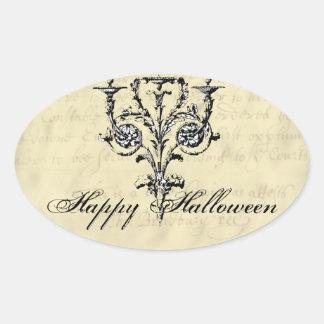 Ljuskrona Halloween Ovalt Klistermärke