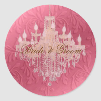 Ljuskrona på barock fauxsammet för rosa champagne/ runt klistermärke
