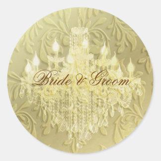 Ljuskrona på champagnebarock/fauxsammet runt klistermärke