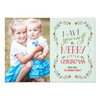 Ljust älskvärt kort för girlandjulfoto - - blått 12,7 x 17,8 cm inbjudningskort