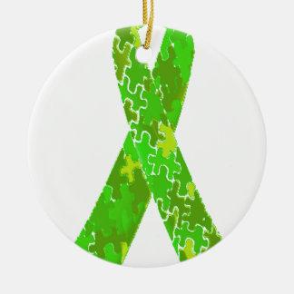 Ljust band för mönster för limefruktgröntpussel julgransprydnad keramik