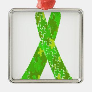 Ljust band för mönster för limefruktgröntpussel julgransprydnad metall