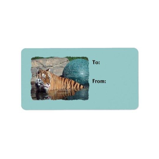 Ljust Bengal tigerfoto - blåttgåvamärkre Adressetikett
