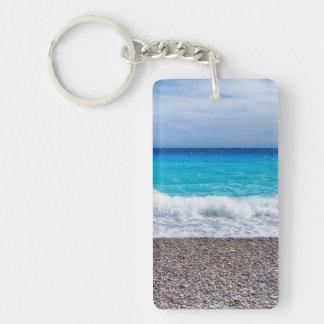 Ljust beskåda av havet rektangulärt dubbelsidigt nyckelring i akryl