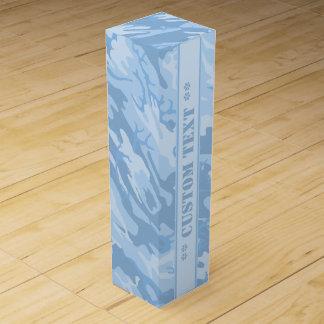 Ljust - blått Camo med beställnings- text Vinlåda