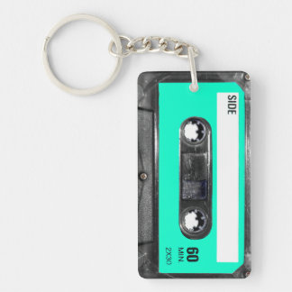 Ljust - blåttetikettkassett rektangulärt dubbelsidigt nyckelring i akryl