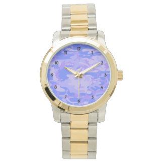 Ljust - blåttkamouflage 2-Tonar armbandklockan Armbandsur