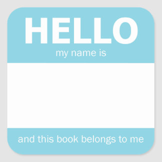 """Ljust - bokägarmärke för emblem för blått""""hej"""" fyrkantigt klistermärke"""