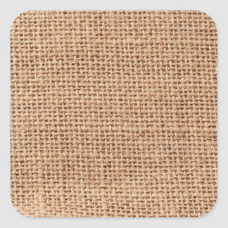 Ljust - brun Burlapsäckbakgrund Fyrkantigt Klistermärke