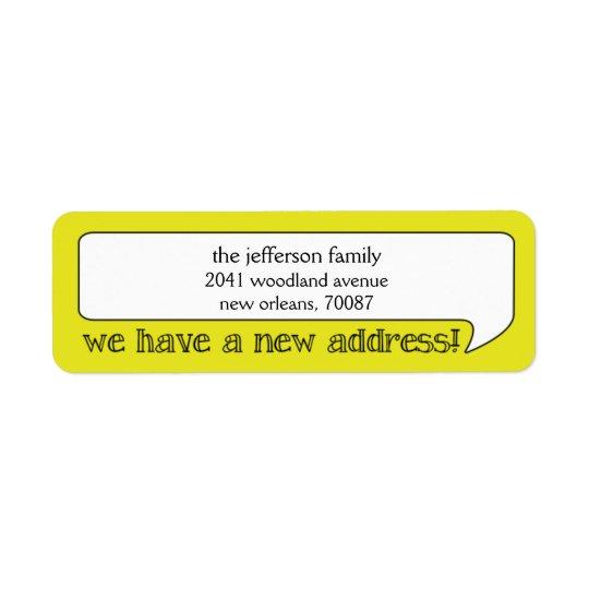 Ljust bubbla det nya adress/flyttande meddelandet returadress etikett