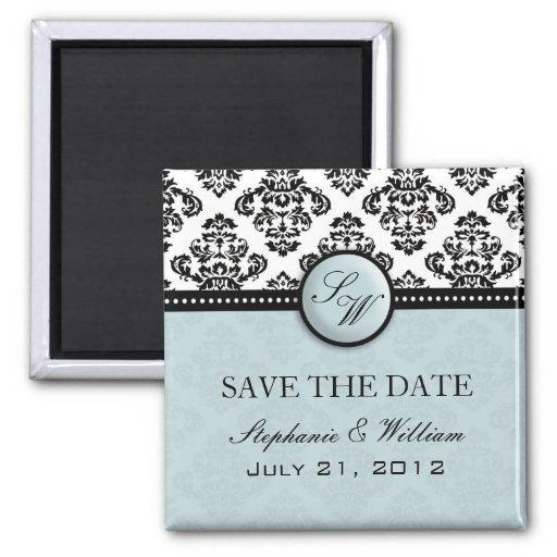 Ljust - damastast bröllop spara datummagnet för bl kylskåpmagneter